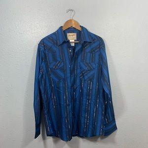 Wrangler Blue Striped Shimmer Snap Button Shirt L
